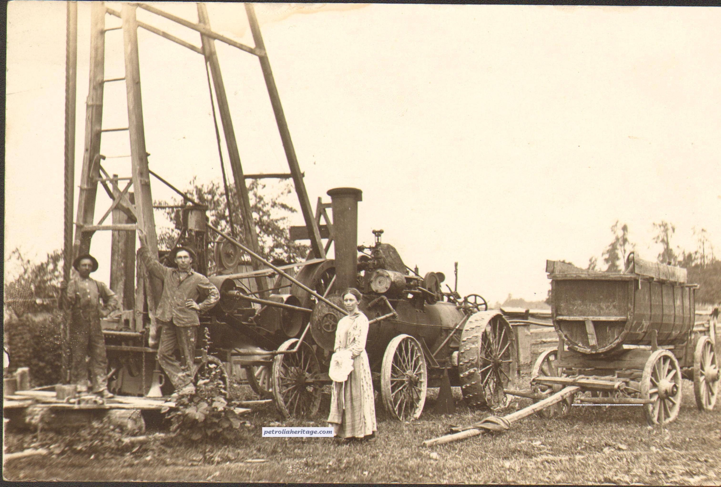 Post it note as a collector while drilling - Editor S Collection I Picked This Card Up Recently And It Shows A Steam Driven Drilling Rig Probably Ca 1910s In With A Group Of Petrolia Pics But Not